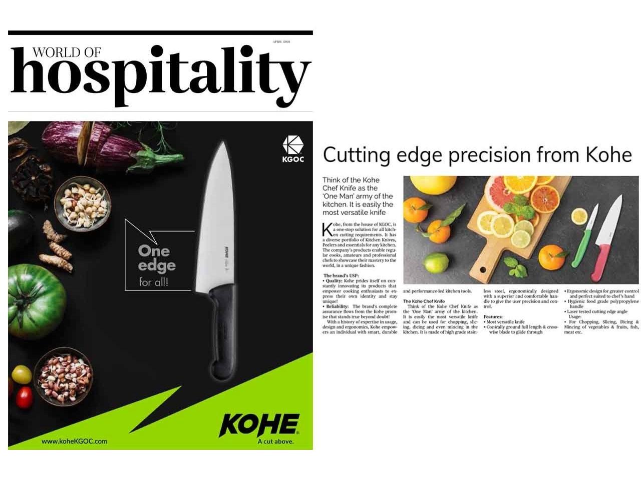 Kohe in World Of Hospitality News magazine (Aahar Edition)